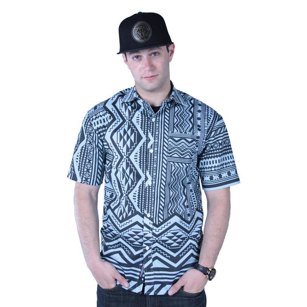 Aztec All Over Teal Black Button Up Short Sleeve - Grassroots California - 2