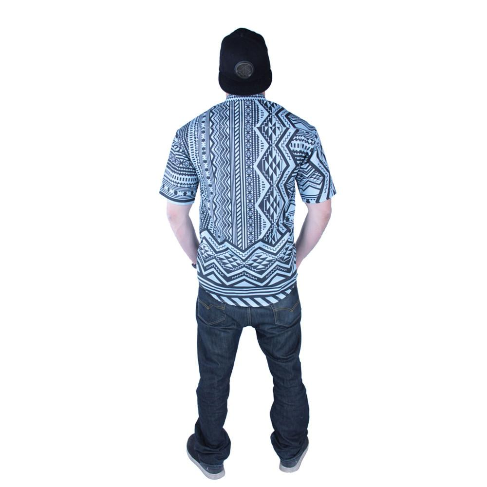 Aztec All Over Teal Black Button Up Short Sleeve - Grassroots California - 3