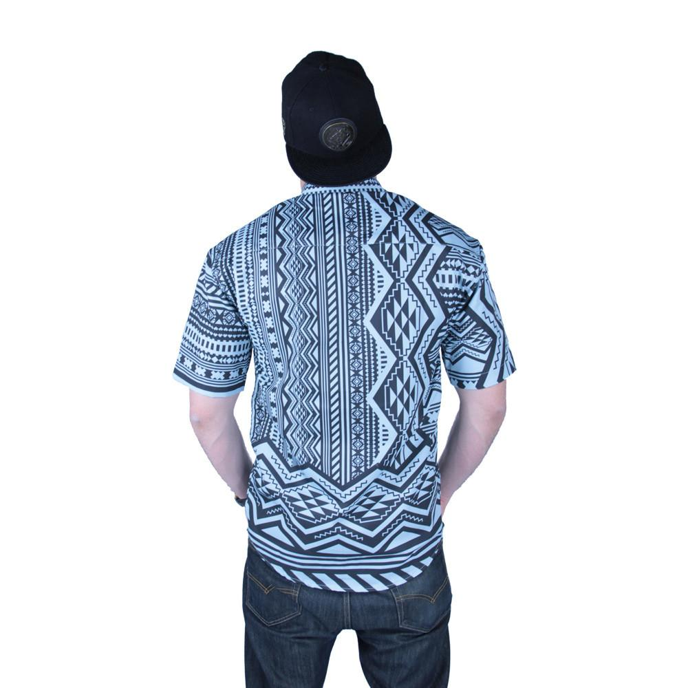 Aztec All Over Teal Black Button Up Short Sleeve - Grassroots California - 4