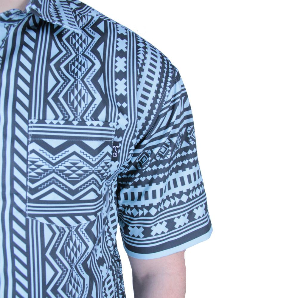 Aztec All Over Teal Black Button Up Short Sleeve - Grassroots California - 5