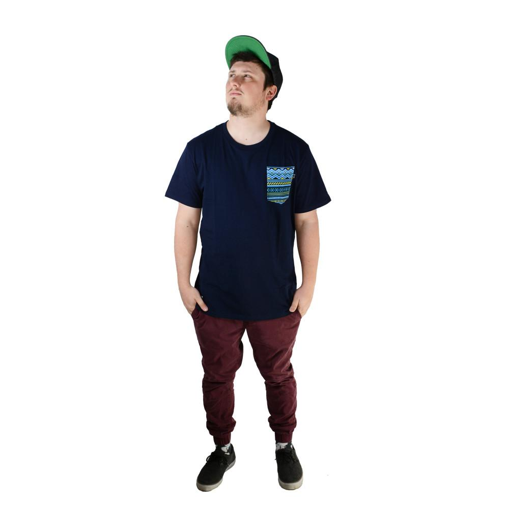 Blue Aztec Pocket T Shirt - Grassroots California - 3