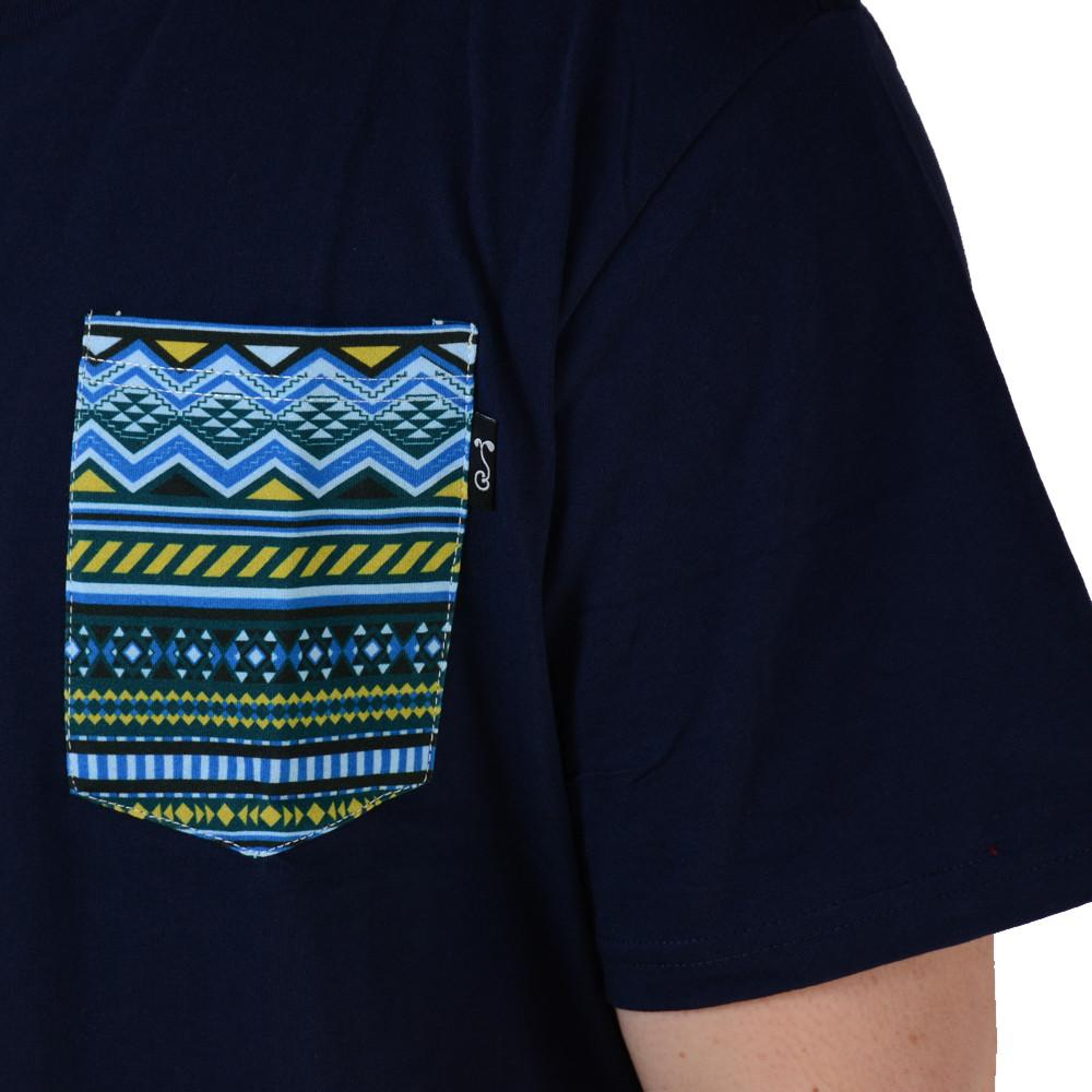 Blue Aztec Pocket T Shirt - Grassroots California - 5