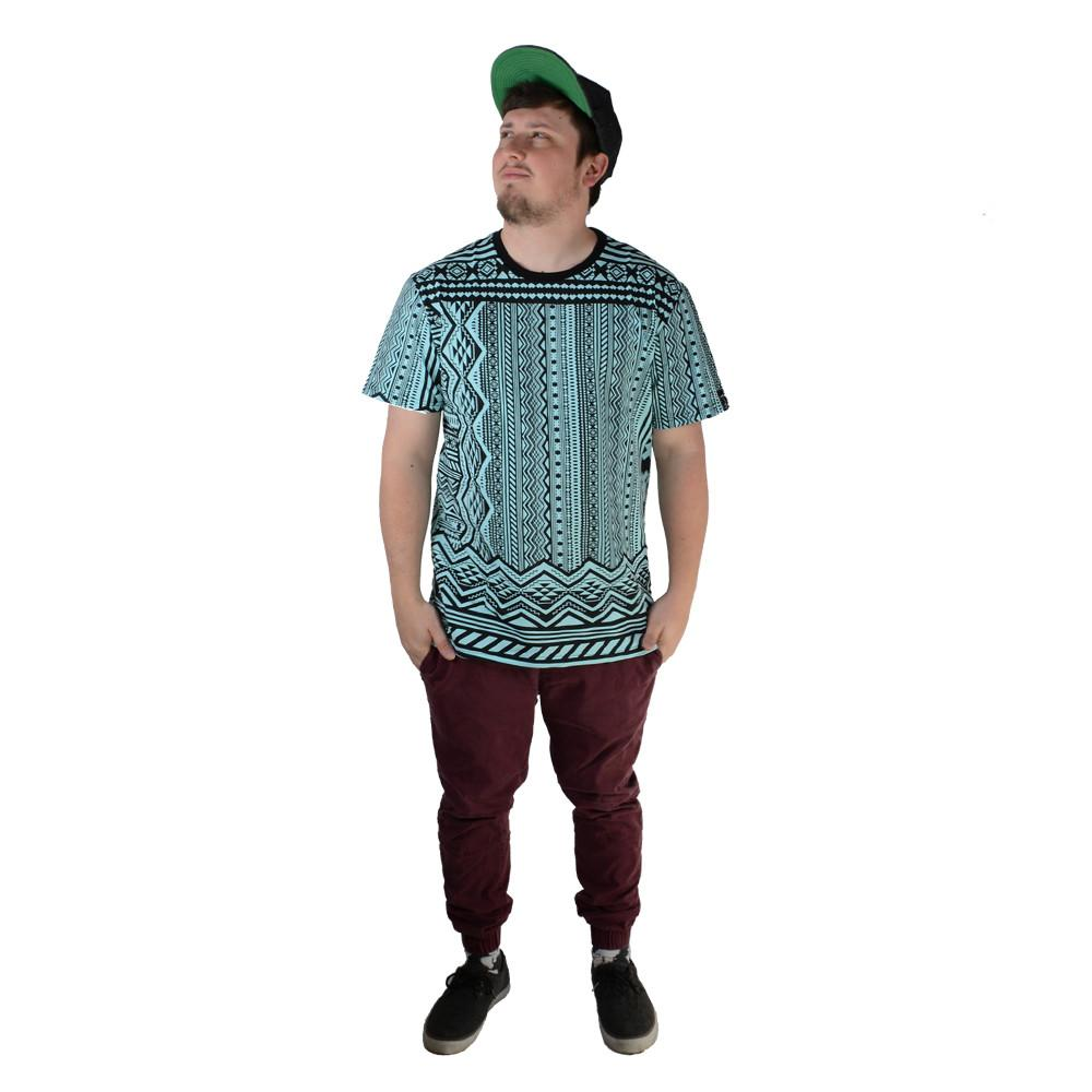 Aztec All Over Teal T Shirt - Grassroots California - 3
