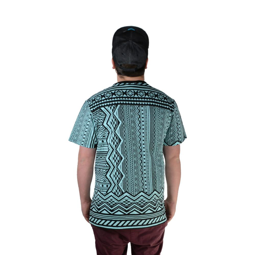 Aztec All Over Teal T Shirt - Grassroots California - 2