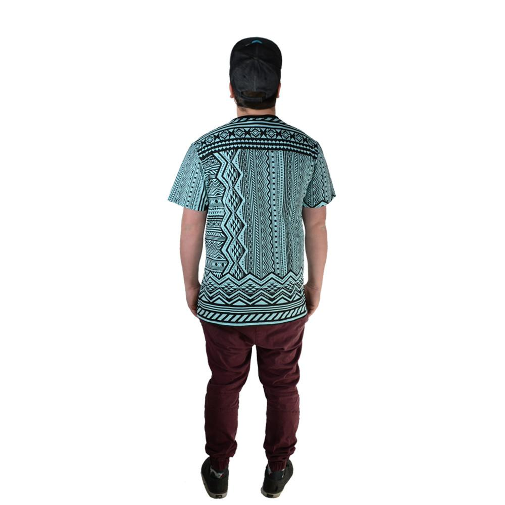Aztec All Over Teal T Shirt - Grassroots California - 4