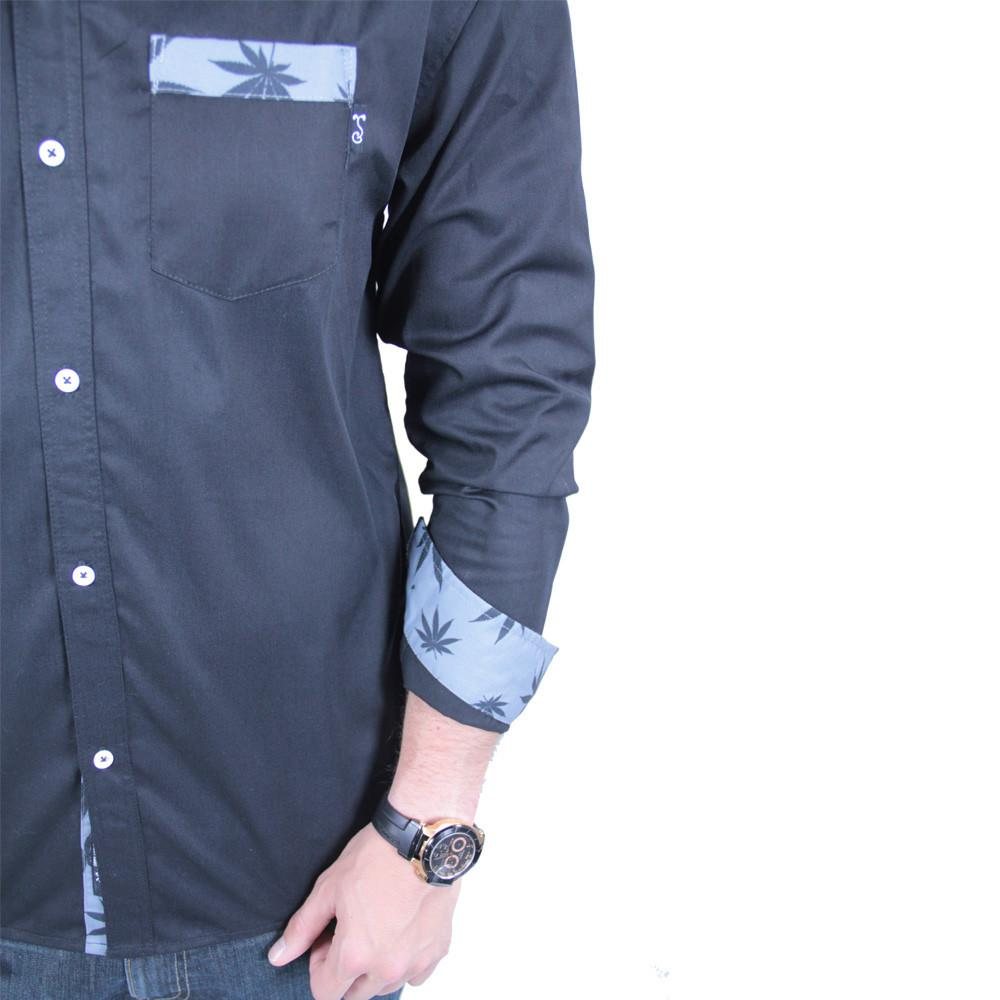 Black Weed Button Up Long Sleeve - Grassroots California - 5