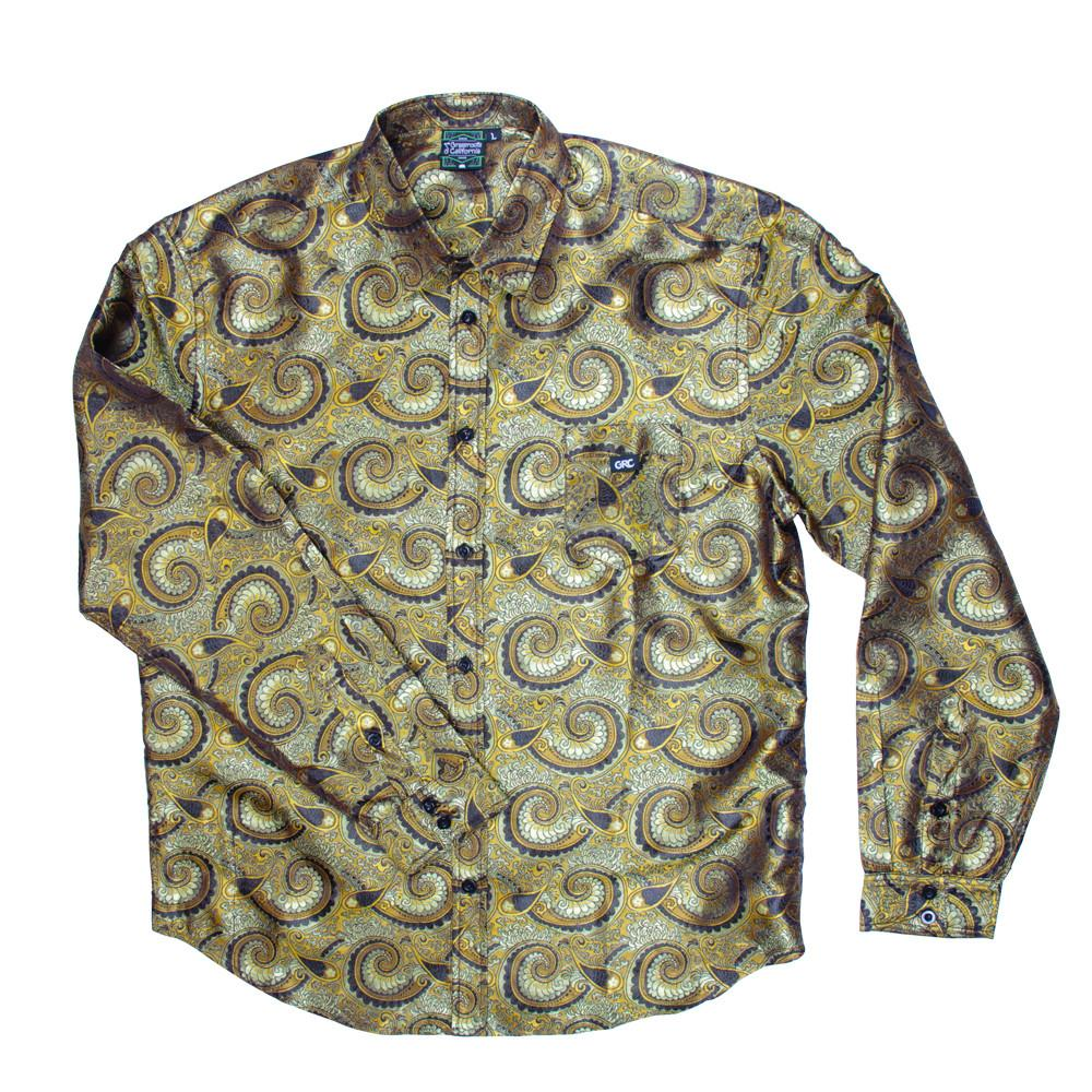 Psychedelic Paisley Gold Button Up Long Sleeve