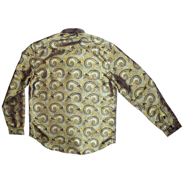 Psychedelic Paisley Gold Button Up Long Sleeve - Grassroots California - 2