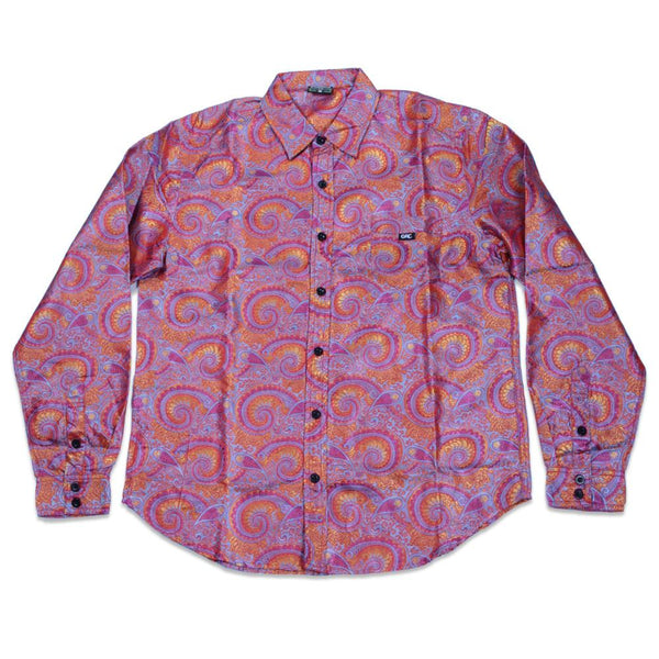 Psychedelic Paisley Red Button Up Long Sleeve - Grassroots California - 1