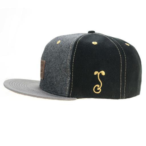 Leather Patch Black Floral Paisley Fitted - Grassroots California - 3