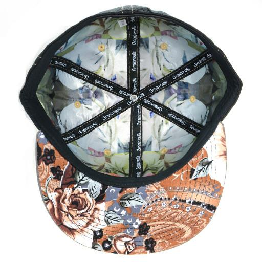 Leather Patch Black Floral Paisley Fitted - Grassroots California - 5