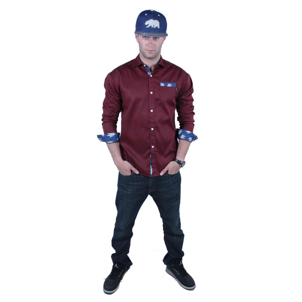 Maroon Weed Button Up Long Sleeve