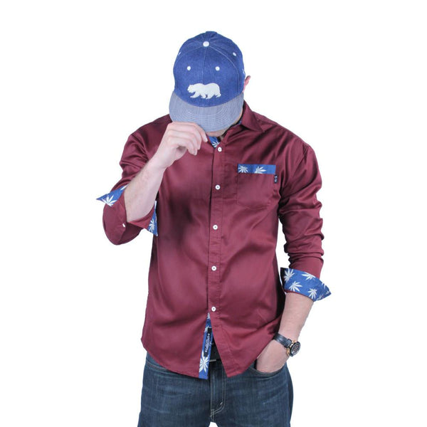 Maroon Weed Button Up Long Sleeve - Grassroots California - 2