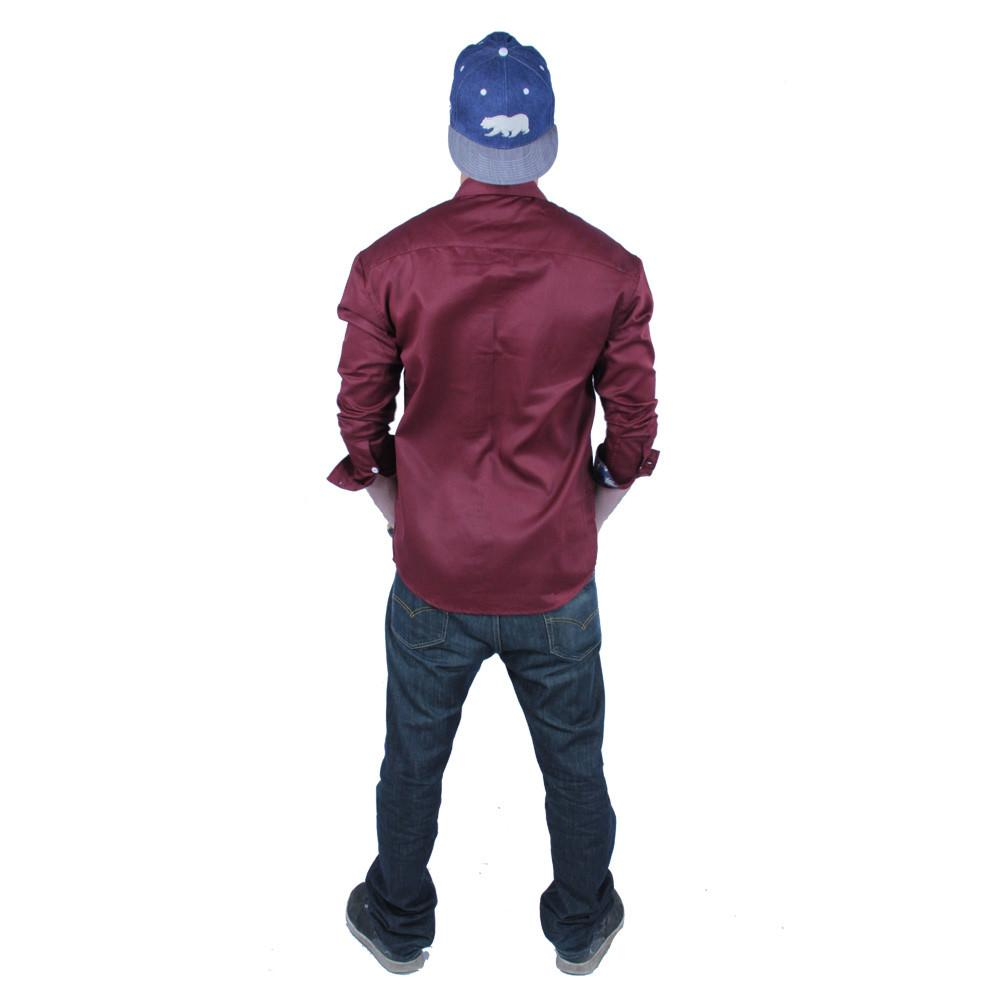 Maroon Weed Button Up Long Sleeve - Grassroots California - 3