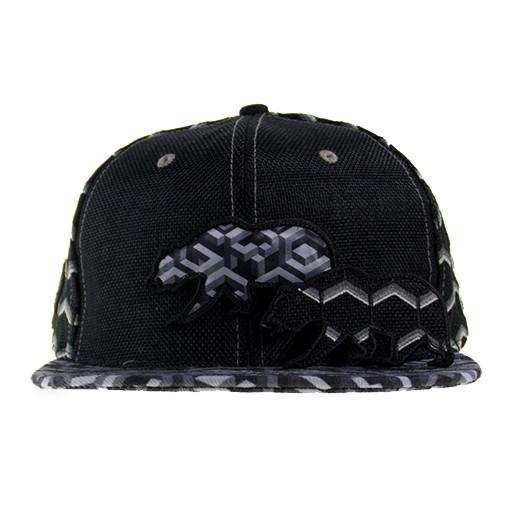 Removable Bear Geometric Black Snapback - Grassroots California - 2