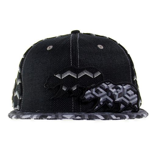 Removable Bear Geometric Black Snapback - Grassroots California - 3