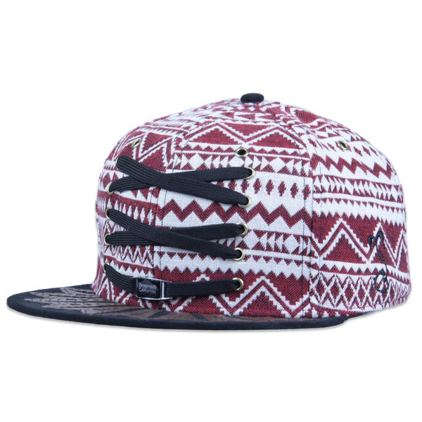 Lacer Aztec Wingtip Maroon Strapback - Grassroots California - 1