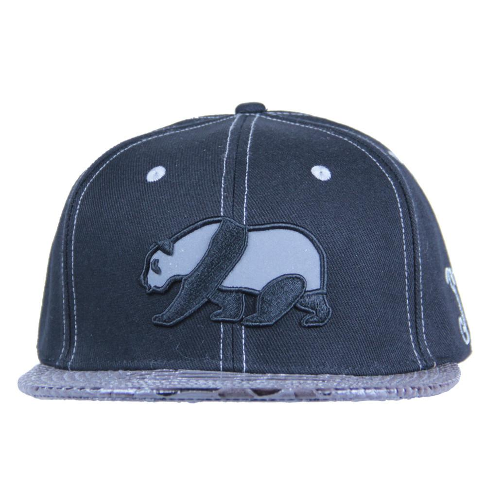 Black Reflective Panda Alligator Brim Snapback - Grassroots California - 3