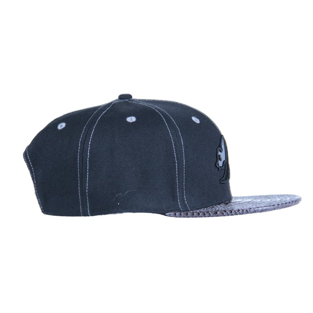 Black Reflective Panda Alligator Brim Snapback - Grassroots California - 4