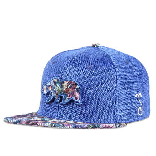 Removable Bear Navy Thrifty Floral Fitted - Grassroots California - 1