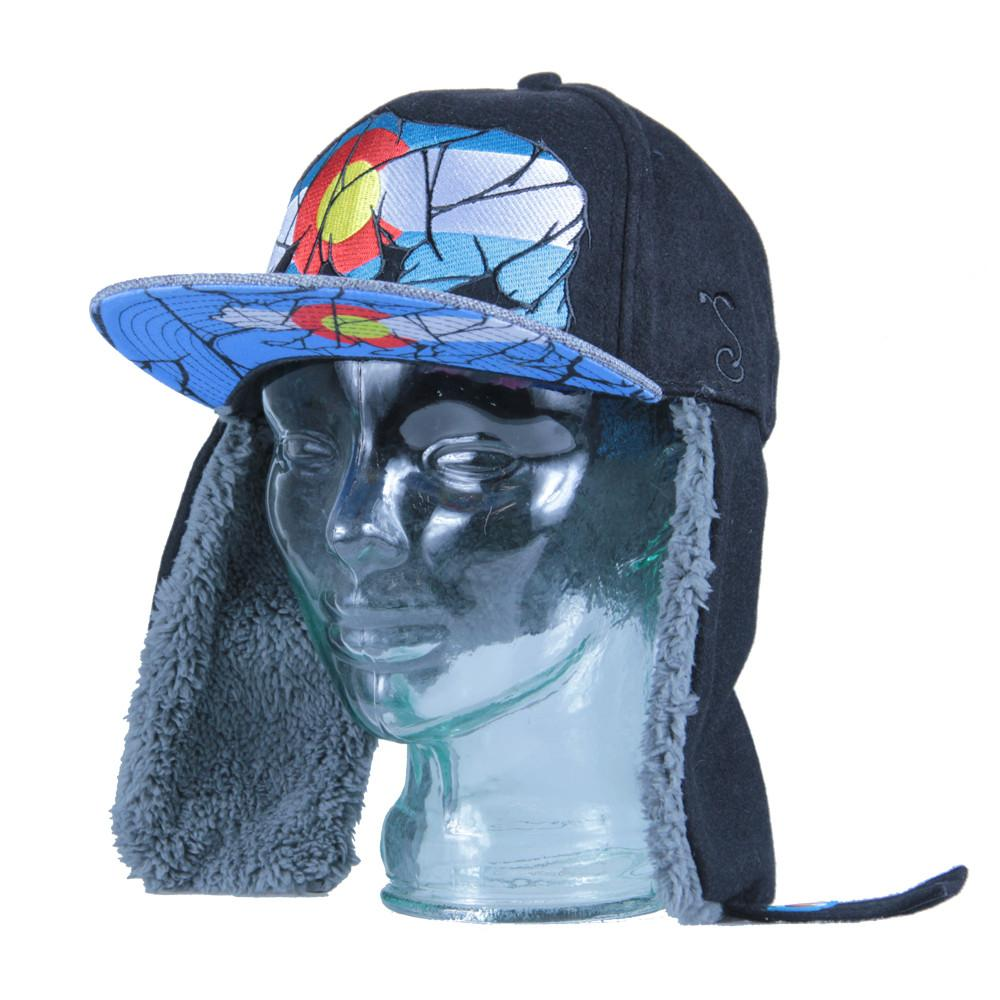 Colorado Mosaic Bear Black Earflap Fitted - Grassroots California - 5