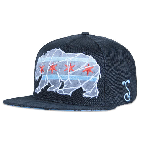 Chicago Mosaic Bear Black Snapback - Grassroots California - 1