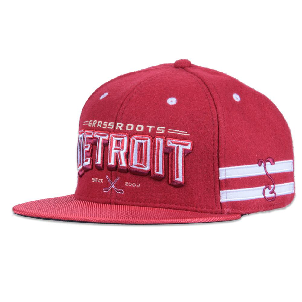 Grassroots Detroit Red Snapback