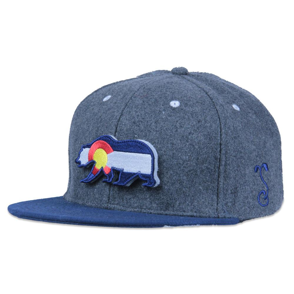 Removable Bear Colorado Flag Gray Wool Snapback