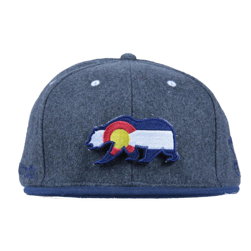 Removable Bear Colorado Flag Gray Wool Snapback - Grassroots California - 4