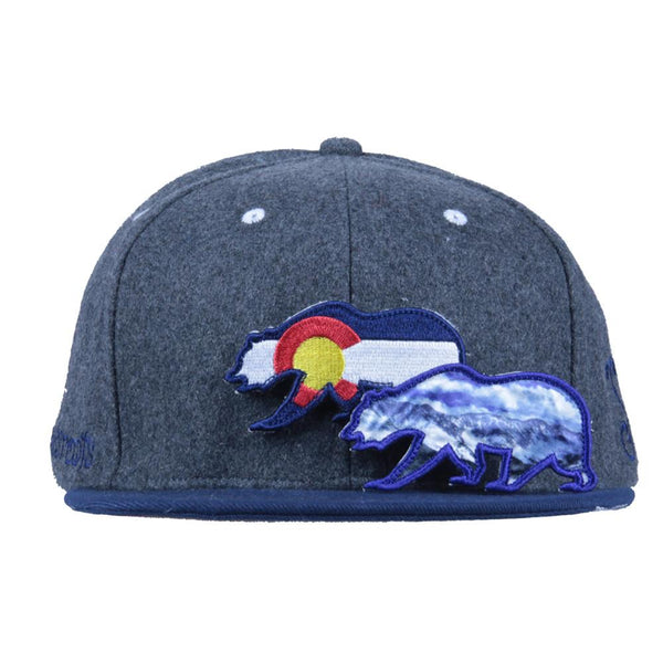 Removable Bear Colorado Flag Gray Wool Snapback - Grassroots California - 2