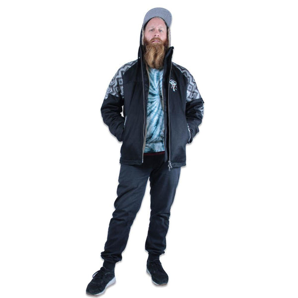 Mens Hemp Hoodlamb 2016 Black Aztec Jacket - Grassroots California - 1