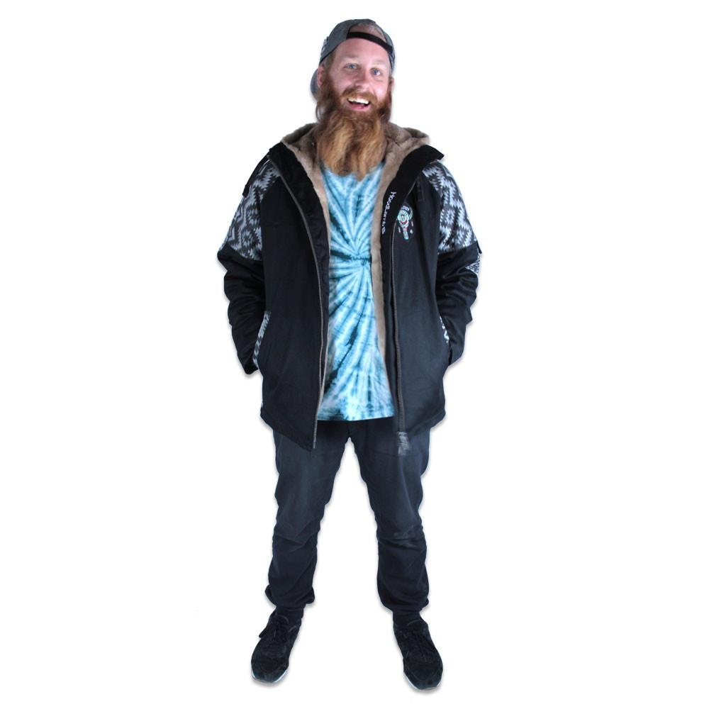 Mens Hemp Hoodlamb 2016 Black Aztec Jacket - Grassroots California - 6