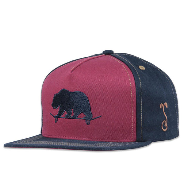 Made in USA Classic Skateboard Bear Black Burgundy Shallow Snapback - Grassroots California - 1