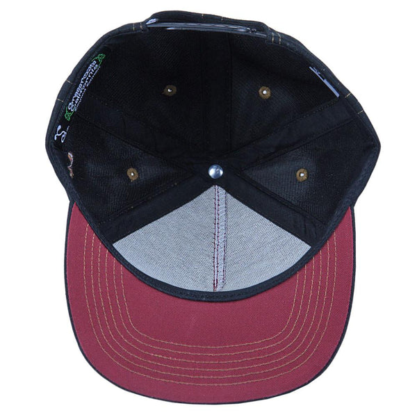 Made in USA Classic Skateboard Bear Black Burgundy Shallow Snapback - Grassroots California - 2