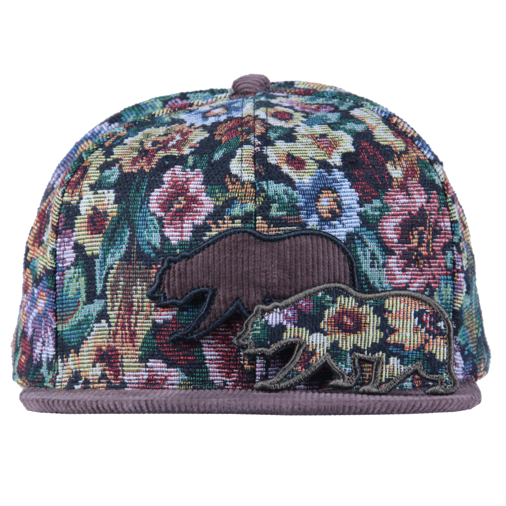 Removable Bear Brown Thrifty Floral Snapback - Grassroots California - 7