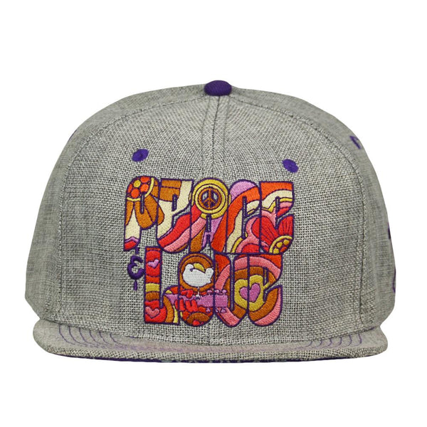 Woodstock Peace Love Gray Fitted Hat
