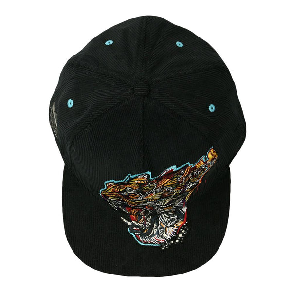 Android Jones Tiger Swallowtail Black Corduroy Fitted Hat