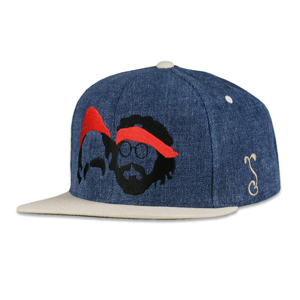 Cheech and Chong Silhouette Blue Denim Snapback Hat