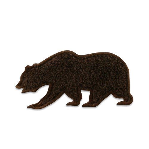 Brown Chenille Removable Bear Patch