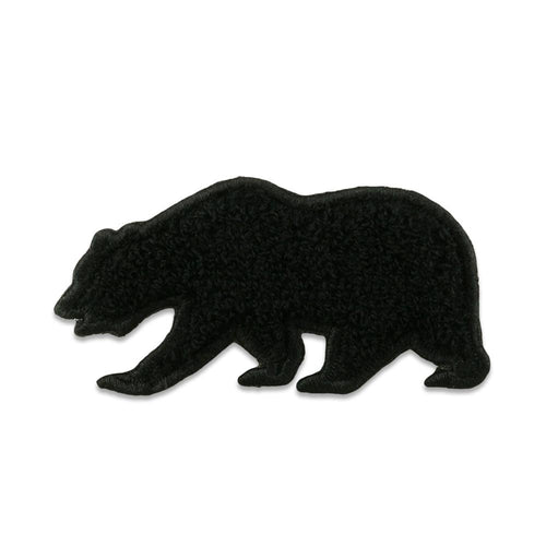 Black Chenille Removable Bear Patch
