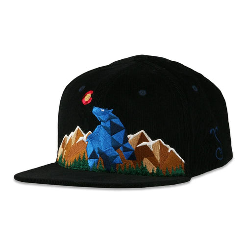 Blue Bear Black Corduroy Snapback Hat