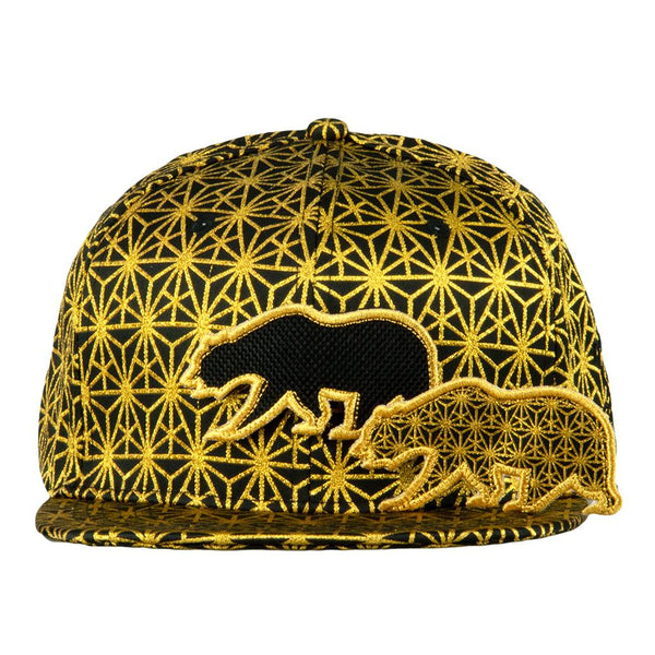 Removable Bear Geo Triangles Gold Snapback Hat