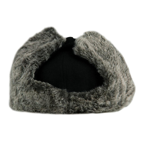 Removable Bear Black Corduroy Earflap Fitted Hat