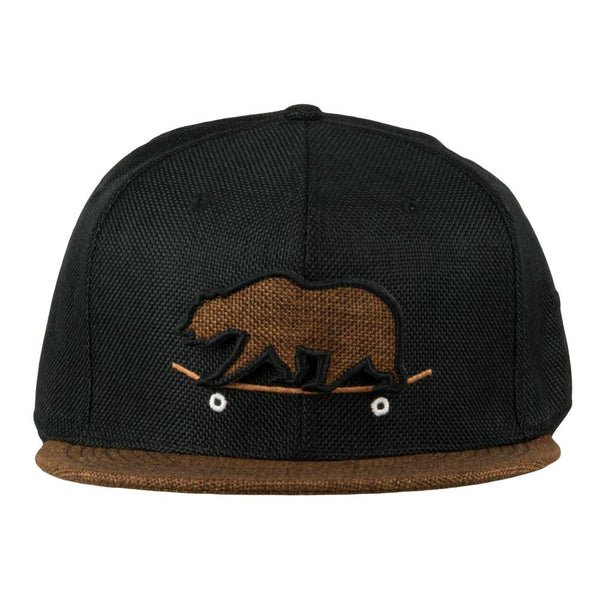 Removable Bear Skateboard Black Fitted Hat