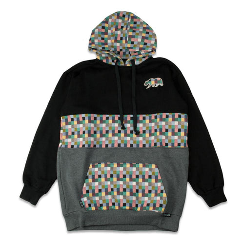 *Pre-Sale* Removable Bear Pastel Patchwork Black Tall Pullover Hoodie