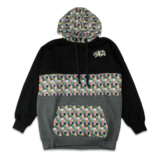 Removable Bear Pastel Patchwork Black Tall Pullover Hoodie