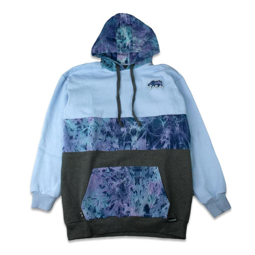 *Pre-Sale* Removable Bear Tie Dye Denim Blue Tall Pullover Hoodie