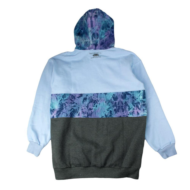 Removable Bear Tie Dye Denim Blue Tall Pullover Hoodie