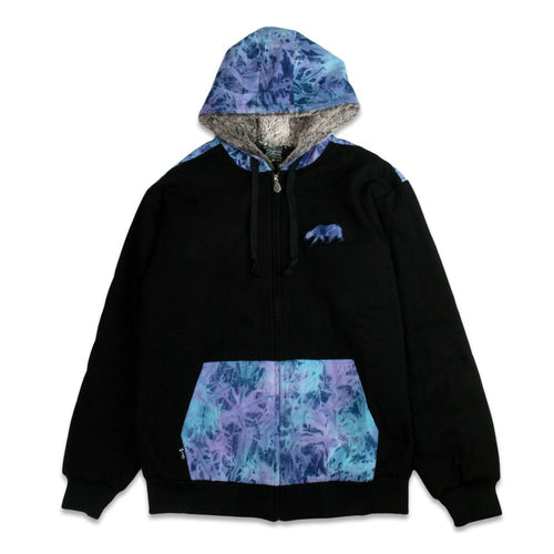 Removable Bear Tie Dye Denim Black Zip Up Hoodie