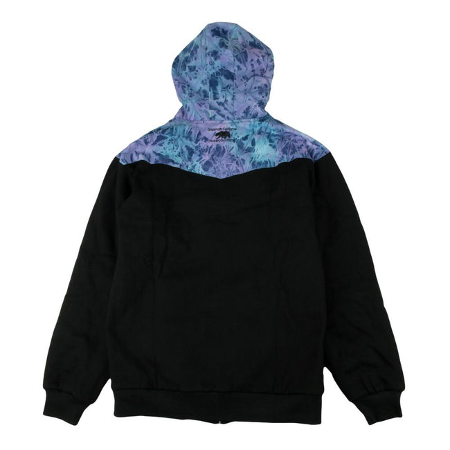 *Pre-Sale* Removable Bear Tie Dye Denim Black Zip Up Hoodie